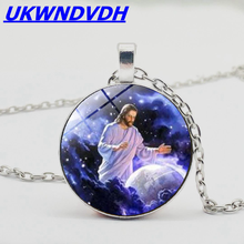 Great Jesus Figure Crystal Necklace Christian Jewelry Pendant Necklace Religious Accessories Men and Women Necklace christian and religious poems