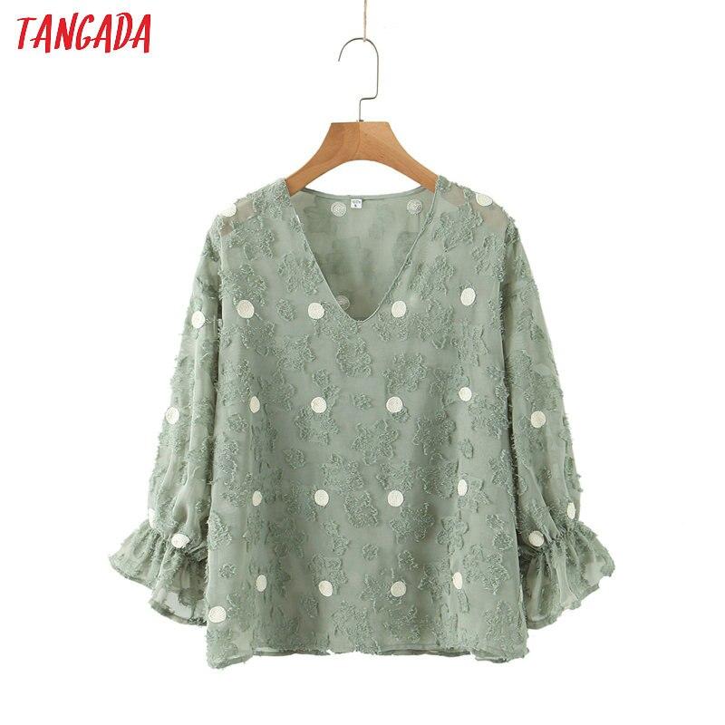 Tangada Women Retro Dot Emebroidery Green Blouse Long Sleeve Chic Female Casual Loose Shirt Blusas Femininas SL246