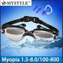 Профессиональные плавательные очки близорукость Мужчины Женщины Анти-туман водонепроницаемый силиконовый Арена бассейн плавательные очки диоптрий спортивные очки