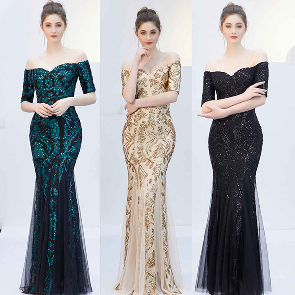 Luxury Elegant Sequined Maxi formal   Evening     Dress   Off Shoulder Gold Sequin Long Party   Dress   celebrity Floor Length mesh Gowns