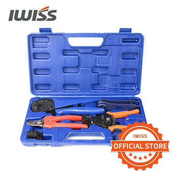 цена на IWISS Solar Crimping Tool Kit with Wire Cable Cutter,Stripper,MC3 MC4 Crimper MC4 Connectors Assembly Tool Solar PV Panel set