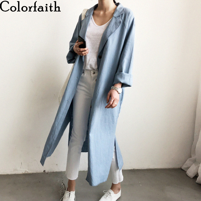 Colorfaith New 2020 Women Summer Blouses Shirts Fashionable Single Breasted Casual Loose Cotton And Linen Slit Long Tops BL8932