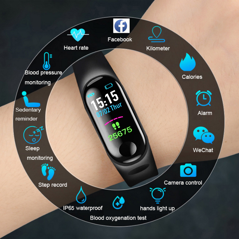 M3 étanche bande intelligente fréquence cardiaque surveillance de la pression artérielle Fitness Tracker pas compteur Bluetooth bande intelligente Sport écriture Band