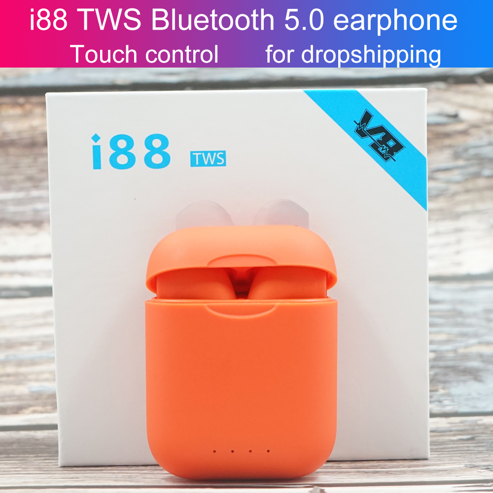 NOVO i88 TWS Earbud Fones De Ouvido Fones de Ouvido Sem Fio Toque ajuste de volume do Fone de ouvido esporte Fones De Ouvido Sem Fio Bluetooth com caixa de carga