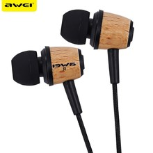 Awei Q9 Wired Earphone Wood Design Super Bass In-ear Earphone with 1.2m Cable for Smartphon