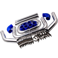 2.5 INCH 64MM ALUMINUM TURBO INTERCOOLER PIPING KIT UNIVERSAL PIPES CLAMP PWH Silicone+Clamp Blue Elbow Hose + Bolt Clamps