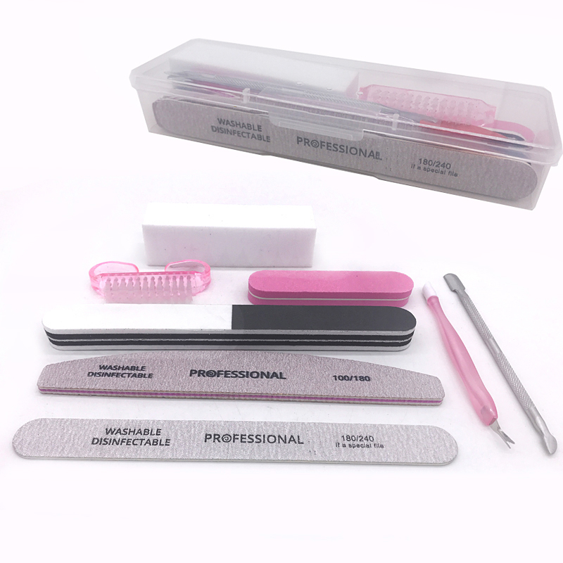 Jearlyu 8pcs/set Nail Kit Art Sand Files Buffer Sponge Block Brush Cuticle Pusher Gel Polish Set Acrylic Manicure Tools With Box