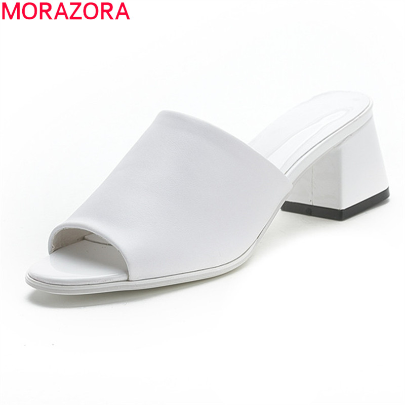 MORAZORA Plus Size 33-44 2020 Summer Women Mules Shoes Genuine Leather Fashion White Color Ladies Shoes Square Heels Slippers