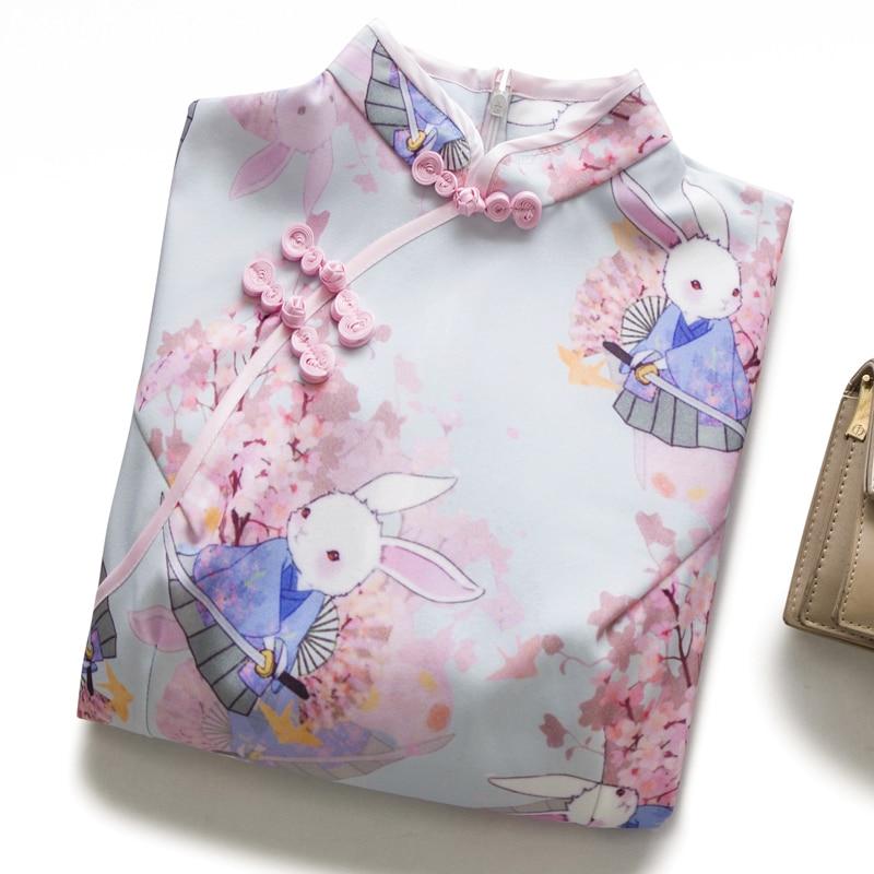 summer cheongsam young girl cute anime rabbit Cherry blossom pink Chinese style dress