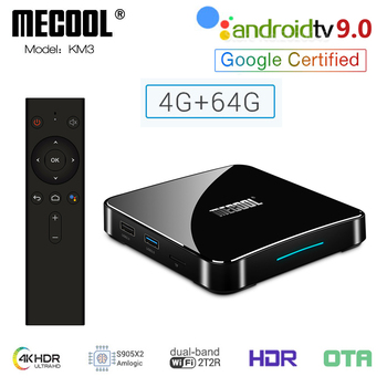 KM3 ATV Amlogic S905X2 Android 9.0 TV Box 4GB DDR4 64GB 128GB ROM 2.4G 5G WiFi Bluetooth 4K HD Androidtv 9.0 Smart Media Player