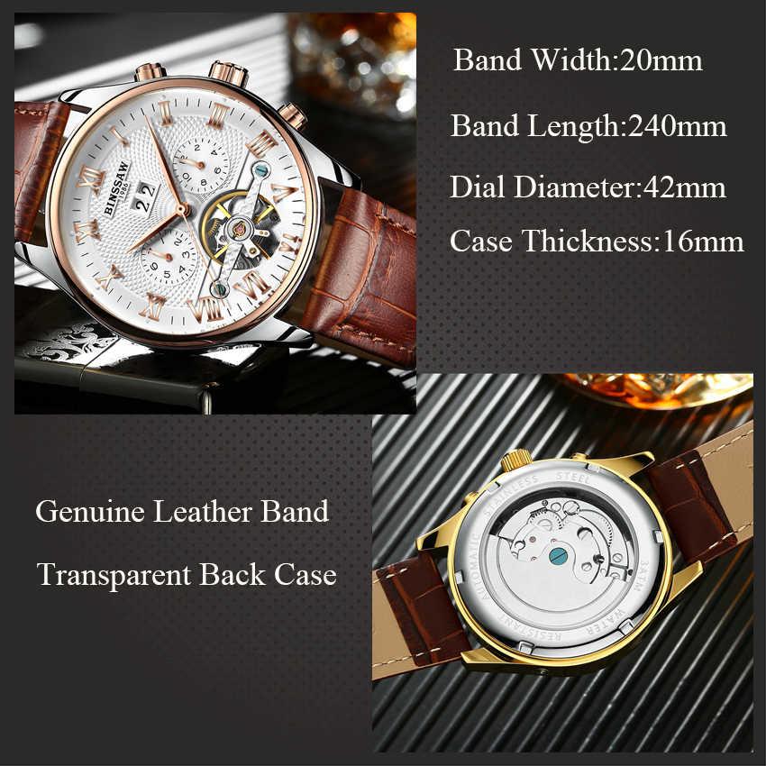 KINYUED squelette Tourbillon montre mécanique hommes automatique classique en or Rose cuir mécanique montres Reloj Hombre 2019