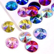 Strass à coudre en verre de cristal Rivoli, 5 tailles, rouge AB rond, dos plat, bleu profond, AB, pour robe de mariée, B0999