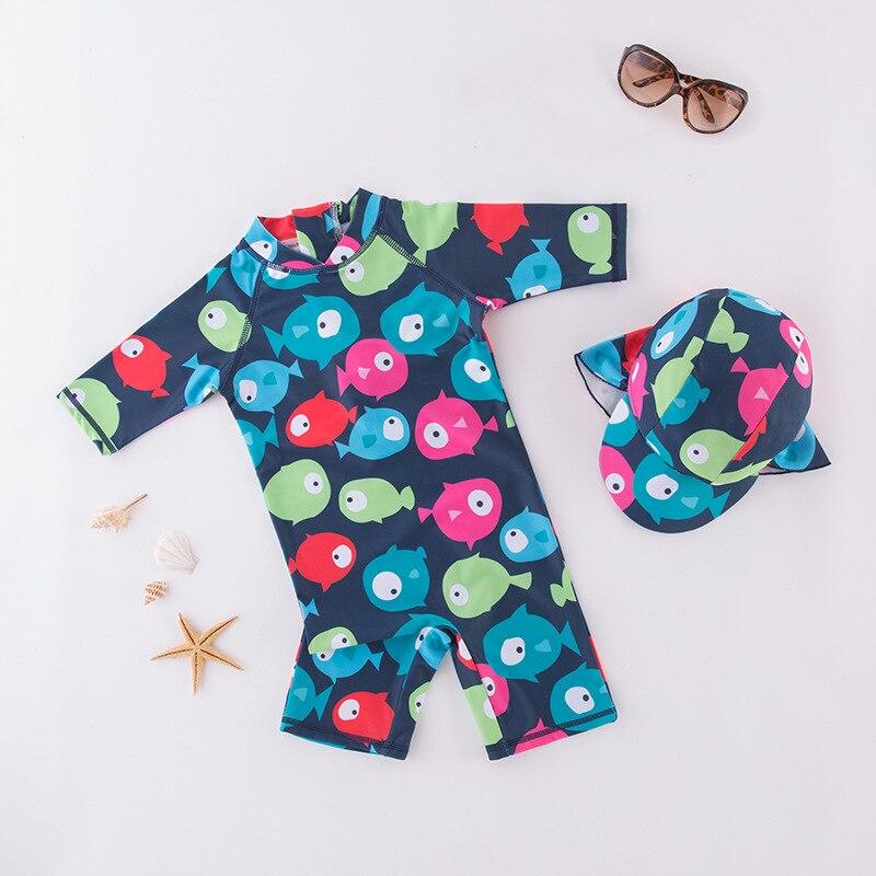 Boys' Cotton One-piece Swimsuit Dark Blue Underwater World With Hat-Children Hot Springs Bathing Suit