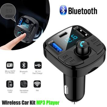 Car Bluetooth MP3 Player Wireless Hands-free FM Transmitter Fast Charging USB Adapter FM Modulator Support Call MP3 Playback bluetooth car kit hands free phone call talking fm transmitter cigarette lighter plug a2dp mp3 playback