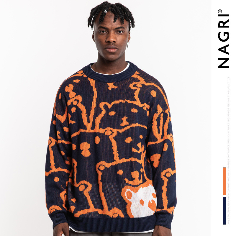 Nagri Europe And America Popular Brand MEN'S Wear Cartoon Bear Sweater Couples Loose-Fit Laziness Hong Kong Style Orange MEN'S S