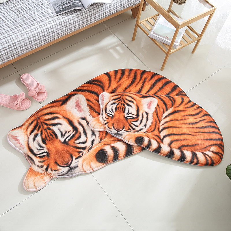 3D Lion Tiger Irregular Child Carpet Living Room Bedroom Animal Printed Hallway Floor Rug Kitchen Floor Mat Entrance Doormats