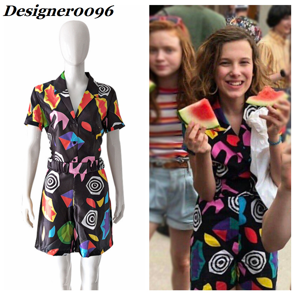 Girls Stranger Things 3 Eleven Cosplay Costume American TV Series Season EL COS Dress 3D Print Skirt Adult