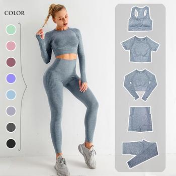 Strój do jogi dla kobiet top koszulka z długim rękawem legginsy z wysokim stanem bezszwowy trening odzież sportowa fitness zestaw 2 3 5 elementów tanie i dobre opinie CN (pochodzenie) NYLON WOMEN