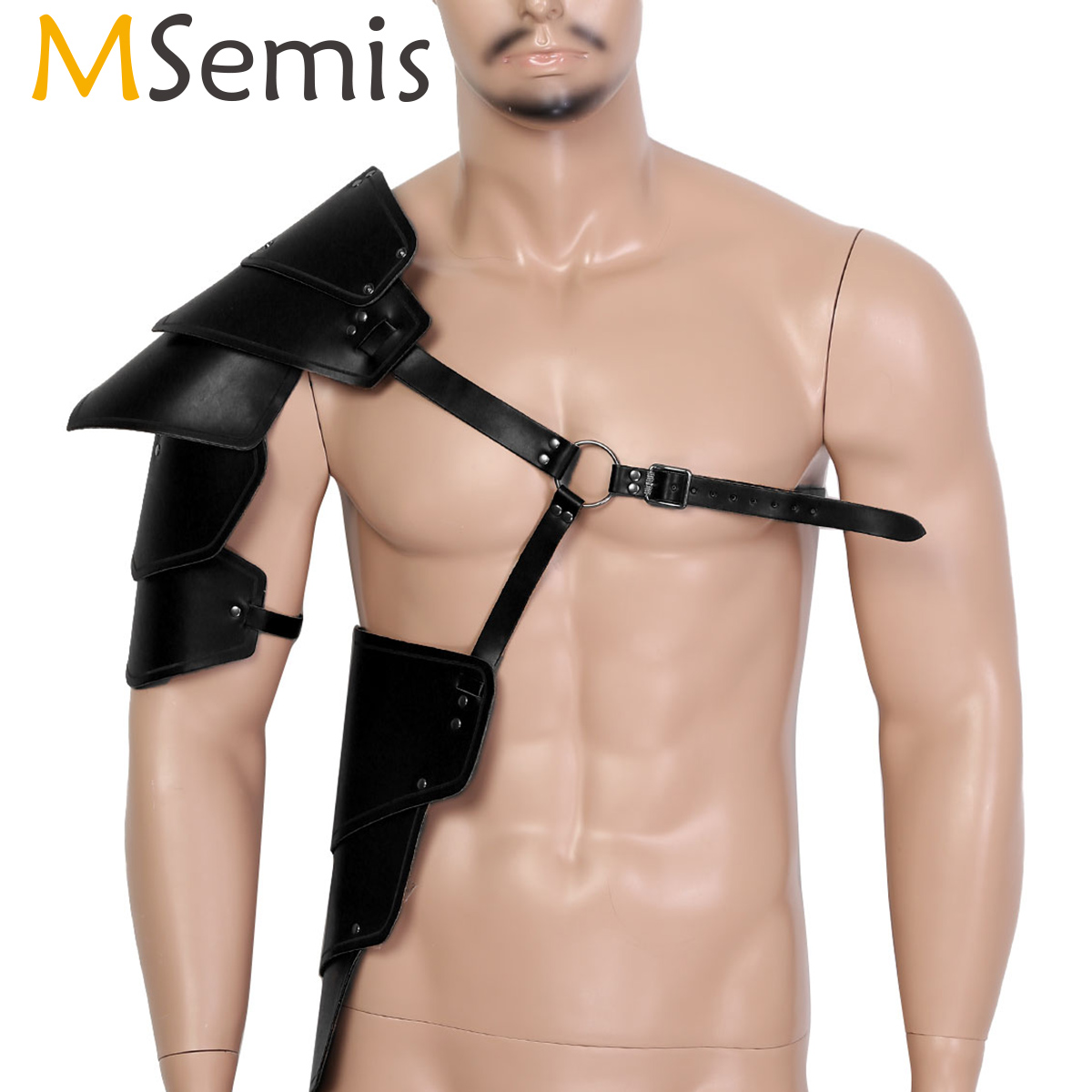 MSemis Mens Medieval Steampunk Gothic Leather Single Shoulder Armors Arm Warmers Protector Body Chest Harness Cosplay Accessory