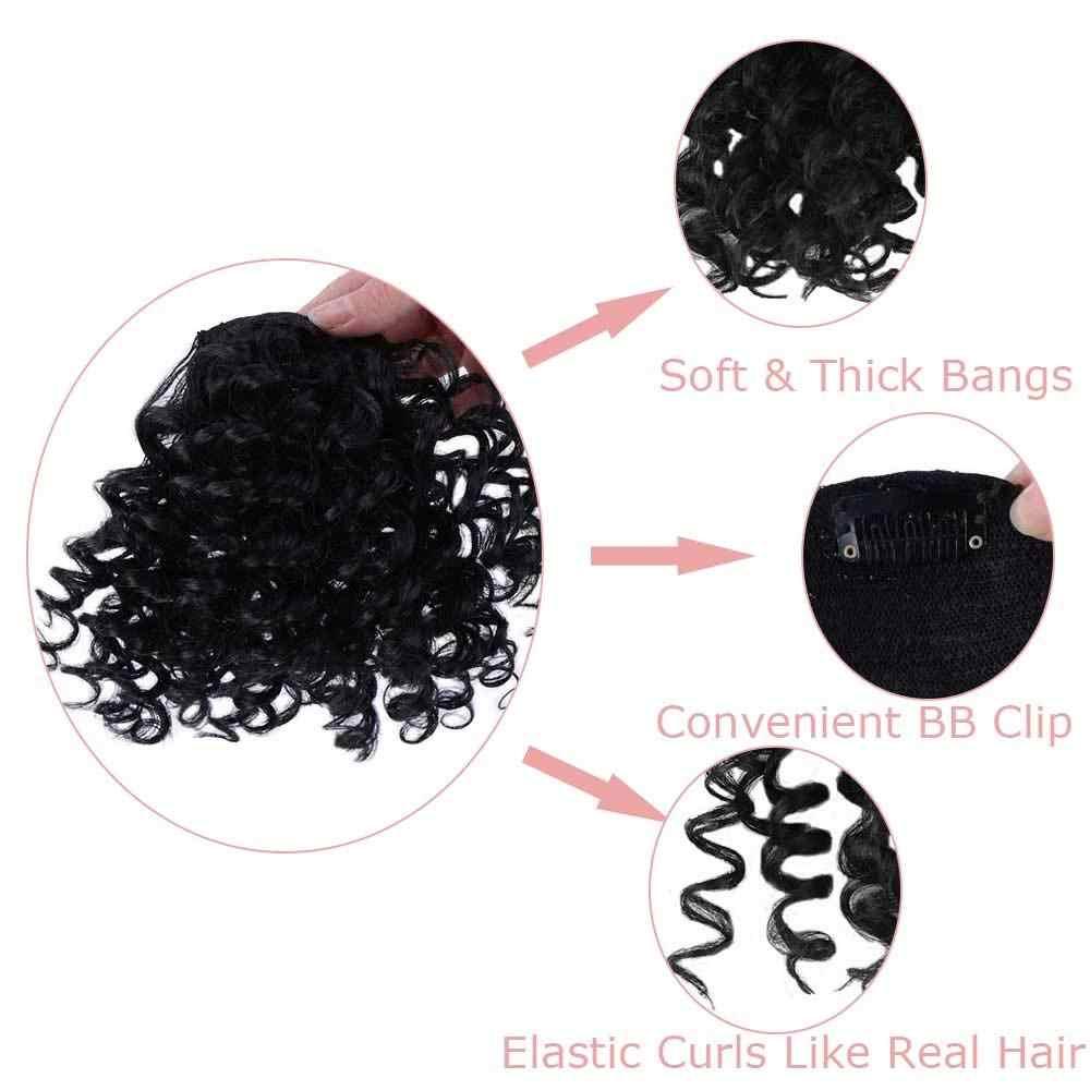 Lupu Palsu Keriting Pinggiran Poni Klip Di Hairpieces dengan Hitam Tahan Panas Serat Rambut Sintetis Ekstensi untuk Wanita