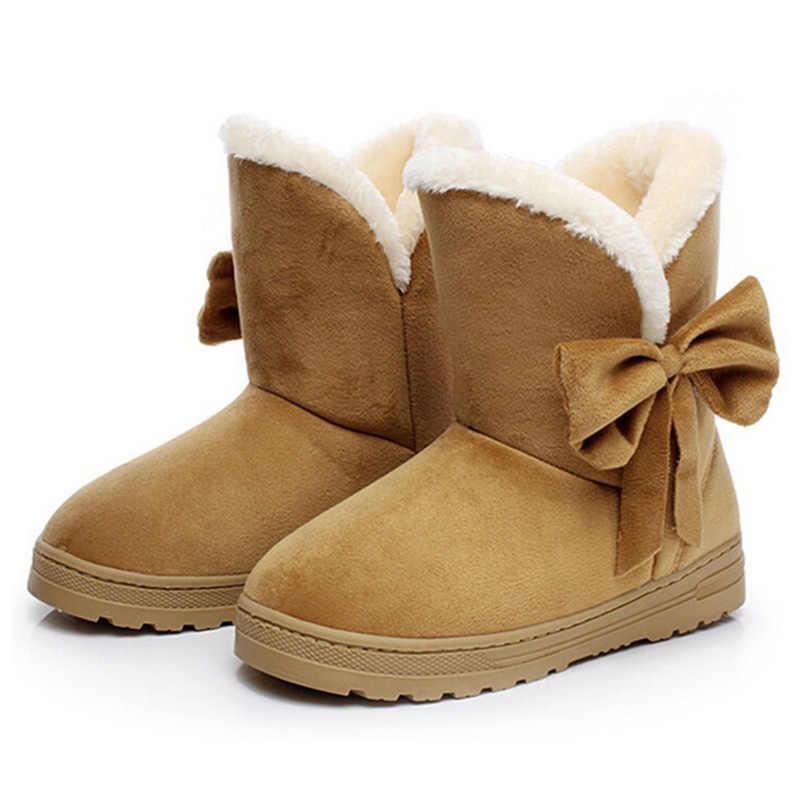 Moda ayakkabılar Kadın Kar Botları Kış Kadın yarım çizmeler Sıcak Peluş Papyon Kürk Süet Kauçuk Düz Kayma Platformu Bayan Ayakkabıları