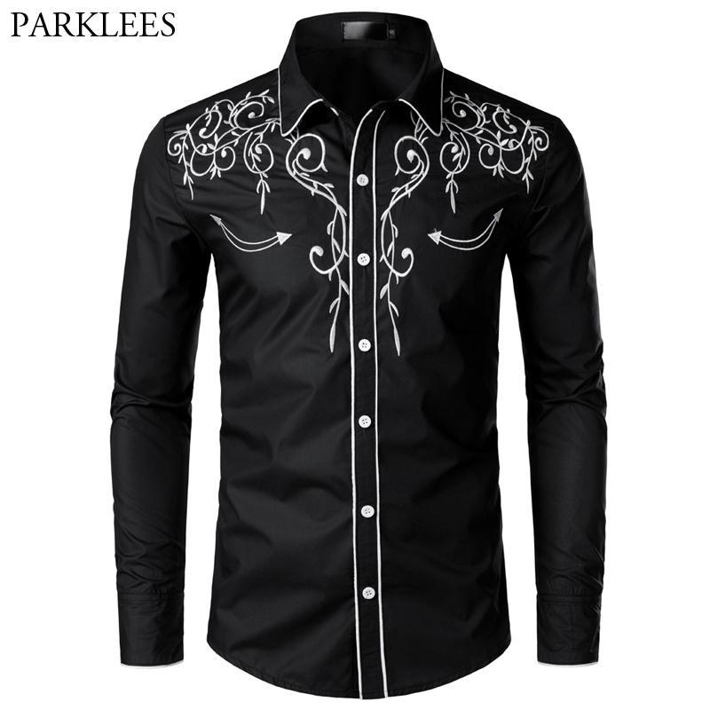 Cowboy-Shirt Embroidery Slim-Fit Western Long-Sleeve Wedding Design Men Casual Brand