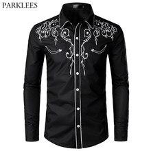 Camisa de manga longa masculina, camisa elegante de estilo cowboy, modelo de marca, bordado, slim fit, casual, para casamento