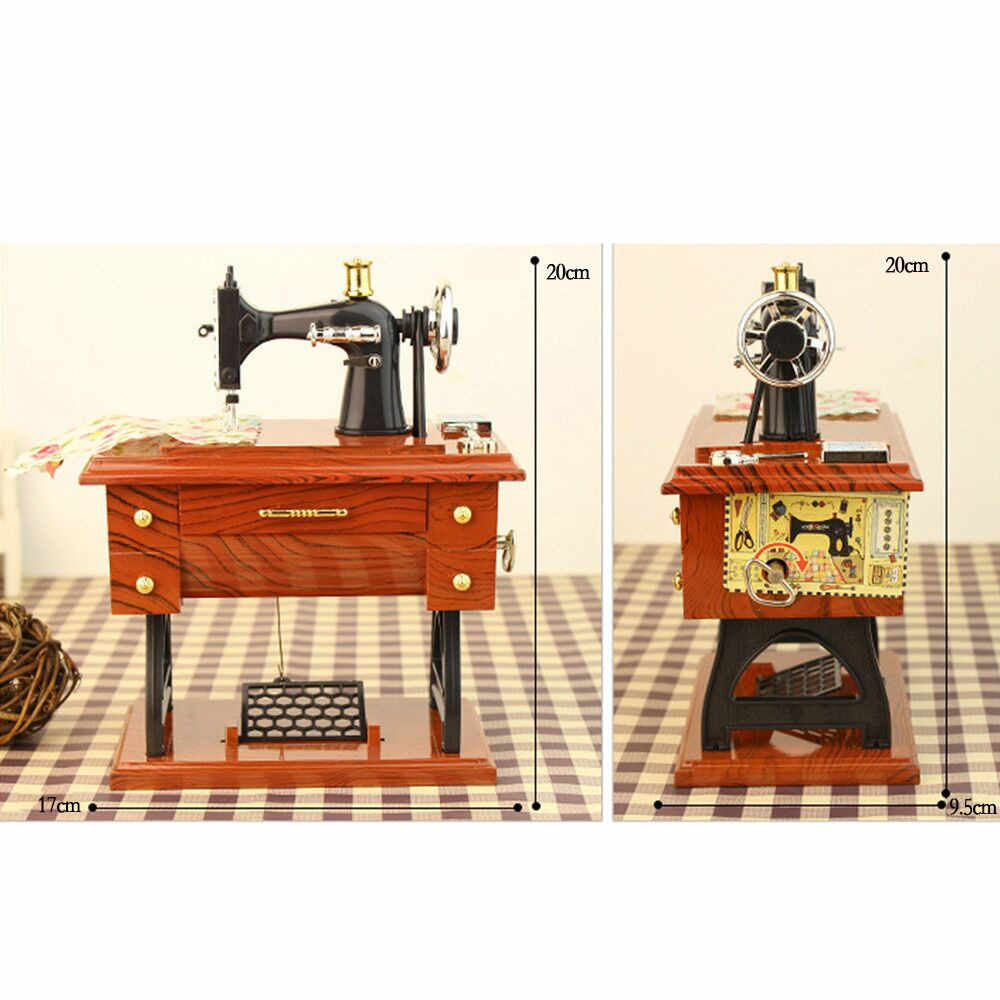 Vintage Portable Mini Handheld Sewing Machine Mechanical Stitch Clothes Sew Needlework Old Style Gift