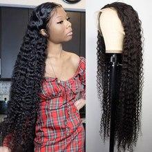 30 32 Polegada encaracolado cabelo humano onda profunda frontal perucas para preto feminino brasileiro 13x4 hd molhado e ondulado onda de água peruca dianteira do laço