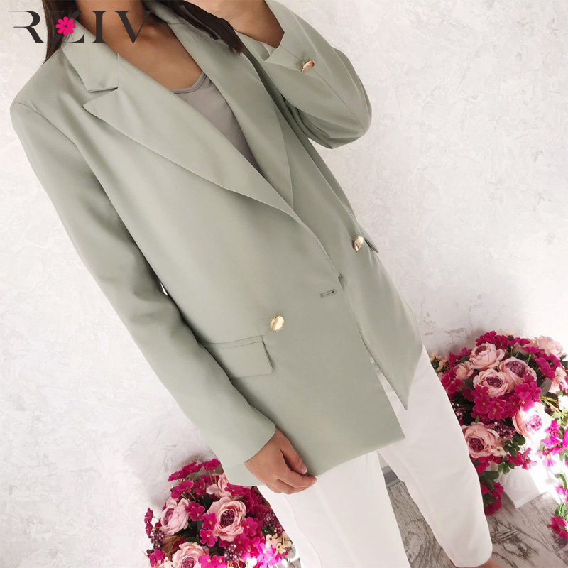 RZIV Autumn and winter women's suit casual solid color double-breasted pocket decorative suit