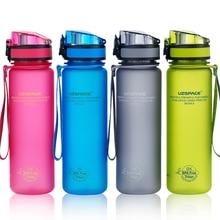 UZSPACE бутылка для воды 350/500/650/1000 мл Спортивные шейкер герметичная Тыква Кемпинг Пешие прогулки бутылка для воды кружки тритан пластиковая посуда для напитков BPA бесплатно