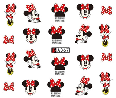 Nail Sticker Nails Art Water Decals Tattoo Slider Mickey Mouse Minnie Bow Knot Designs Decoration Manicure Pegatina Foil Wraps