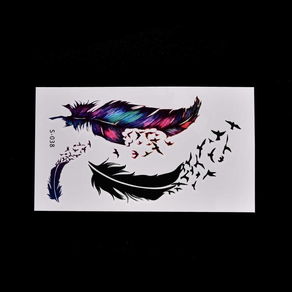 Wodoodporna henna ptak pióro tymczasowa naklejka tatuaż tatuaże do ciała tatto flash tatuaż fałszywe tatuaże dla dziewczyny kobiety mężczyźni