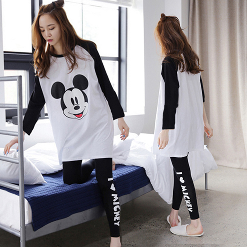Mickey Printed Cartoon Cute Pajamas Suit Pure Cotton Long Sleeve Korean-style Spring And Autumn Women's Home Wear Casual-Outer W
