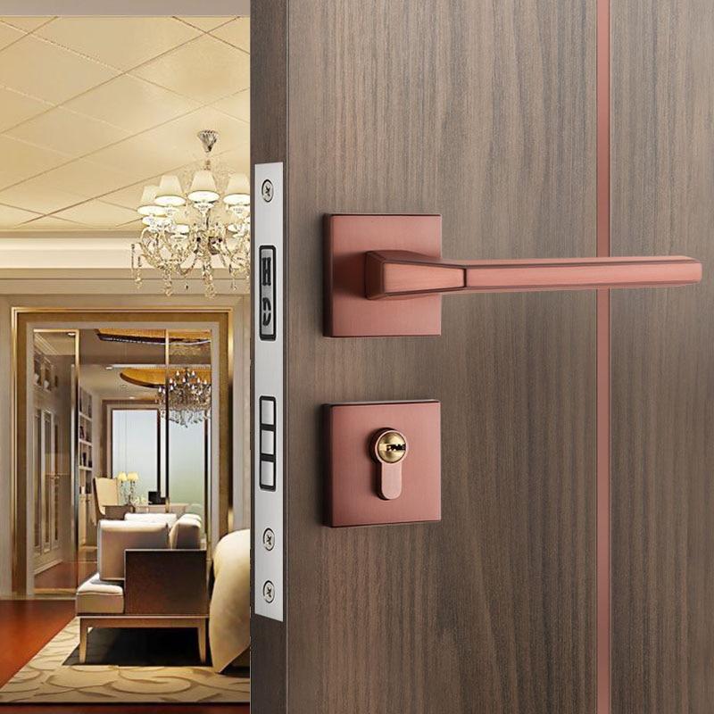 Wooden Door Handle Lock American Modern Interior Light Solid Wood Door Lock Bedroom Split Handle Kno