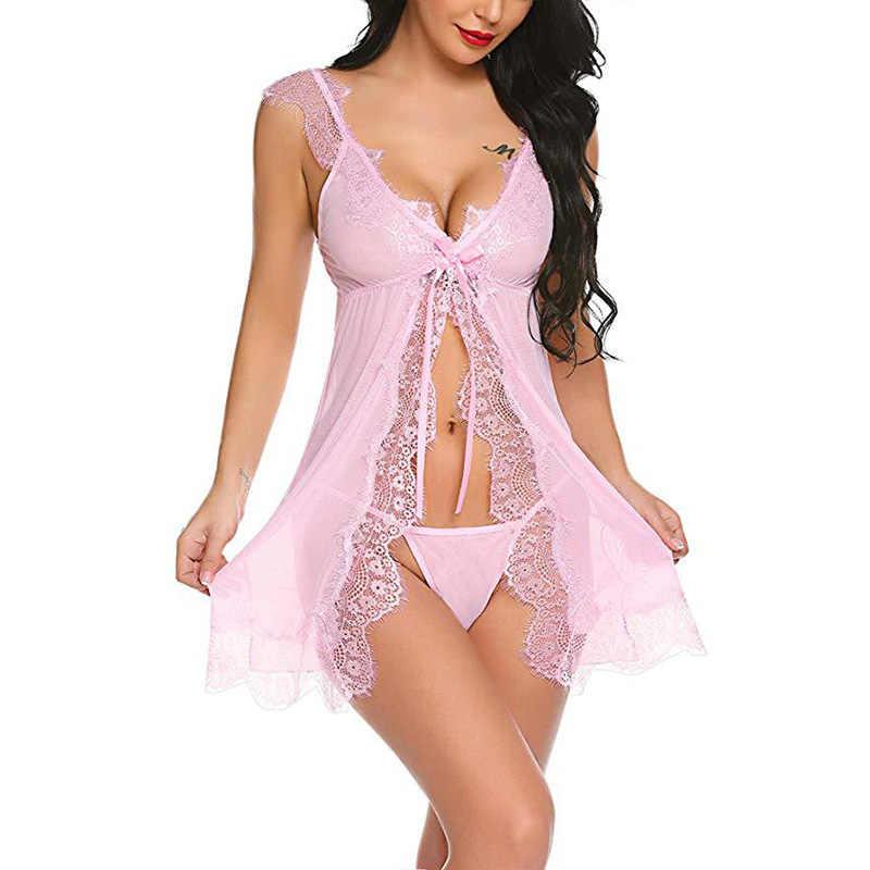 תחרה כתונת לילה נשים הלבשת פיג קיץ חלוק Babydoll Nightwear סקסי הלבשה תחתונה חלוק כותונת נשי בגדי בית