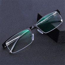 Anti luz azul miopia óculos óculos clássico meio-emoldurado negócio óculos quadrados míopes diopter 0 -1.0 a 6.0