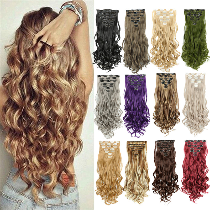 Kong & Li 16 зажимы в наращивание волос Для женщин натуральные волнистые волосы на заколках, 7 шт./компл. 60 Цвета 22 дюйма синтетические волосы кусо...