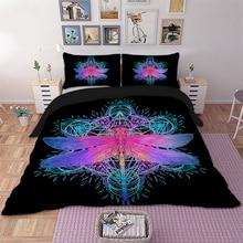 Wongs Bedding Dragonfly Mandala Bedding Set Queen Size Insect Print Duvet Cover Purple Pink Bed linen Drop Ship худи print bar purple mandala
