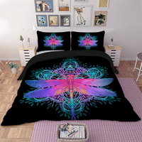Wongs Bedding Dragonfly Mandala Bedding Set Queen Size Insect Print Duvet Cover Purple Pink Bed linen Drop Ship