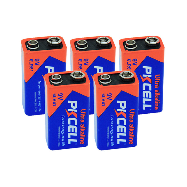 5Pcs PKCELL 9V 6LR61 Alkaline Battery 1604A 6AM6 MN1604 522 Super Dry Batteries primary battery For Gas Stoves Water Heater