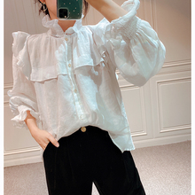 Black and White Color Women's Ruffles Patchwork Blouse Hollow out Stand Collar Long Flare Sleeve But