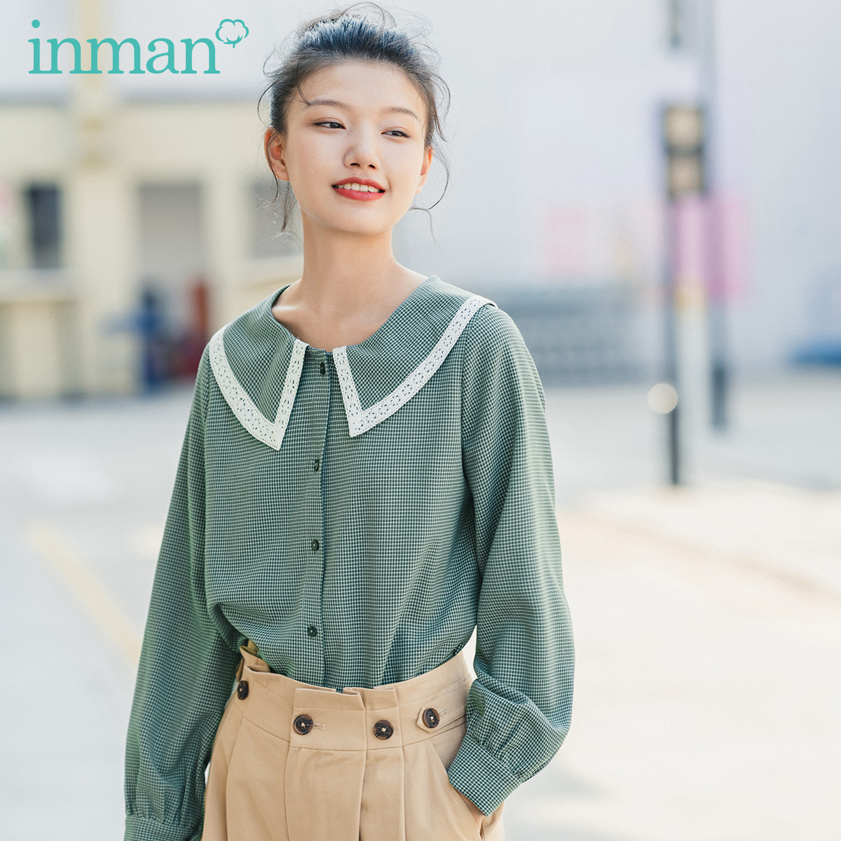 INMAN 2020 Spring New Arrival Literary Age-reducing Doll Collar Check Single-breasted Loose Long Sleeve Blouse