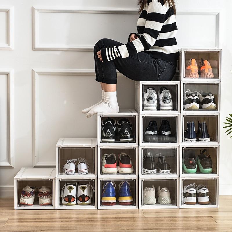 Clamshell Shoe Storage Box High-quality Transparent Shoe Storage Rack Storage Box Can Be Stacked Dust-proof Waterproof Shoe Box