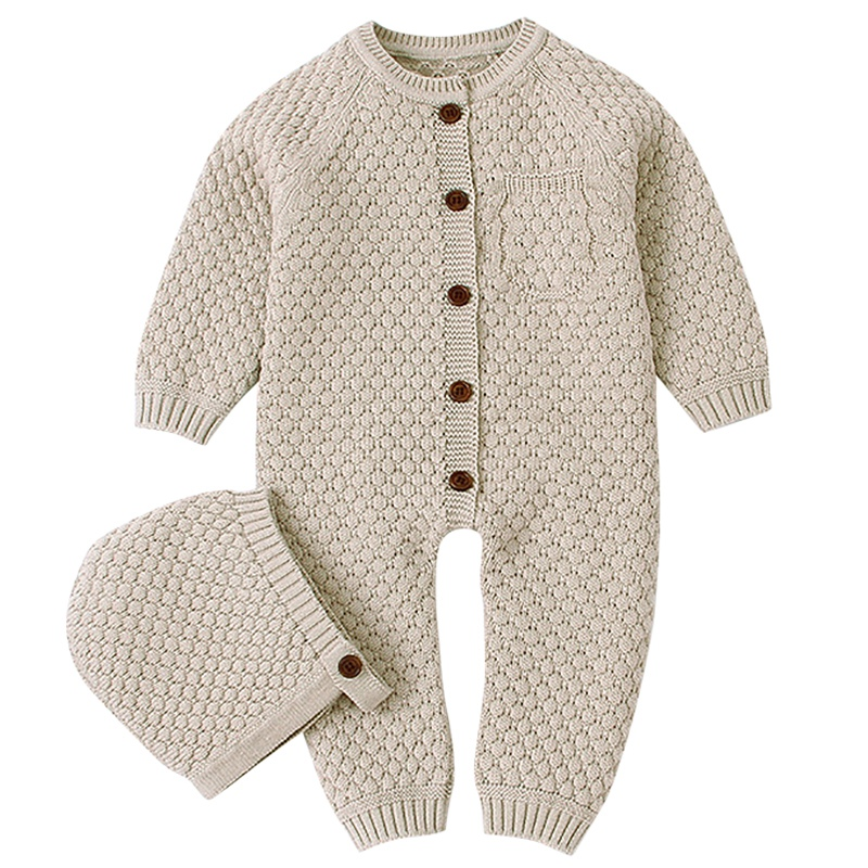 Romper Knitted Newborn Baby Clothes Romper With Hat Infant Toddler Jumpsuit For Kids Cotton Toddler Jumpsuit