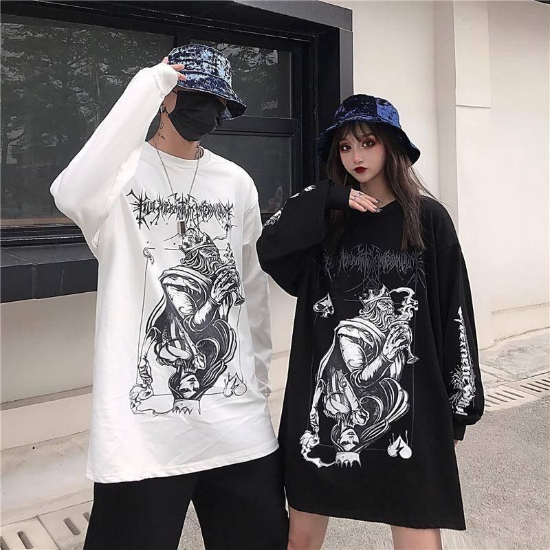 NiceMix Novelty Style Pharaoh Pattern Print Tee Shirt Tops Casual Streetwear Loose Long Sleeve O-neck T-shirt Women Men Clothing