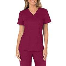 Мода Медсестра Униформа Женщины Плюс Размер С короткими рукавами V-образным вырезом Топы Рабочая Униформа Однотонный Карман Блузка Блузки Mujer De Moda 2021 г.