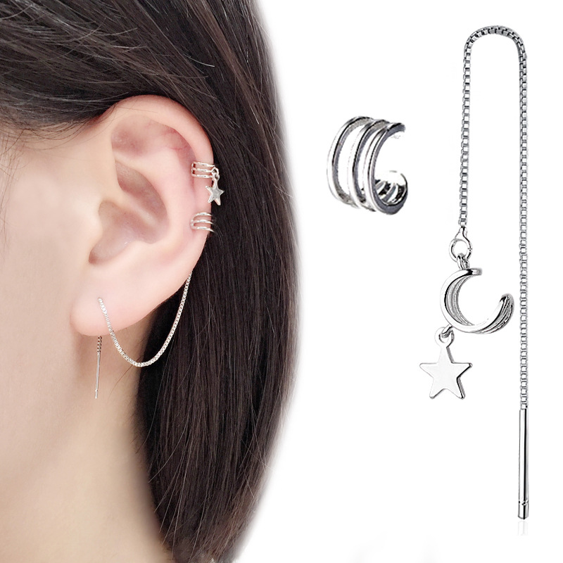 New Ear Cuff Clip Chain earring For Women Star Tassel clip on earrings Fashion Korea silver color Jewelry Femme 2020 Earcuff
