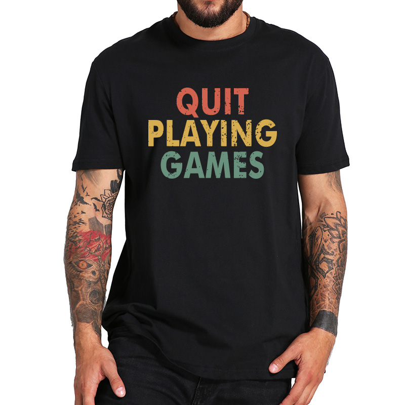 Quit Playing Games Song T Shirt Letter Print Vintage 90s Music Lover Fans Gift Tshirt Breathable EU Size 100% Cotton Tops image