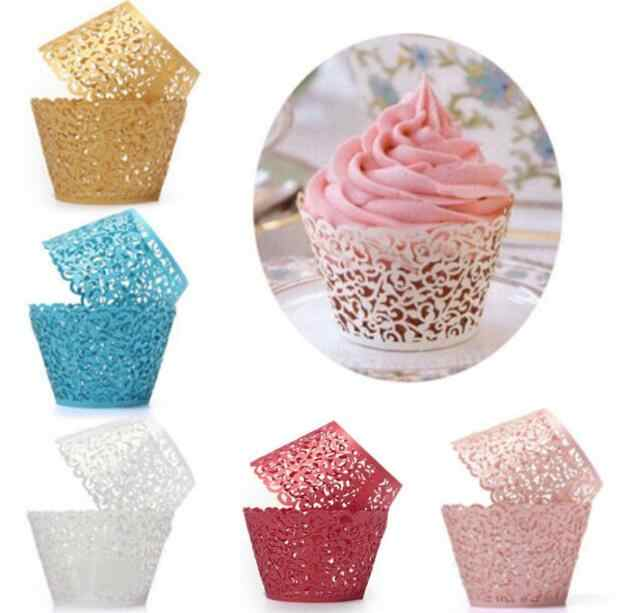 12PCS/lot  Little Vine Lace Laser Cut Cupcake Wrapper Liner Baking Cup For Home Wedding / Birthday / Christmas Party Decoration